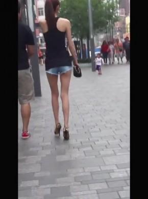 105-很#you*人的超短裤豹纹高跟女