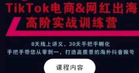 TikTok电商&网红出海高阶实战训练营课